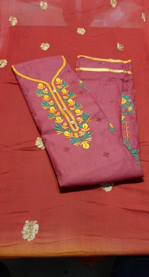Siya Satin Top Bandhej Dupatta Work Suits - Showroom Quality