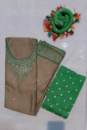 Kasba Satin Top Bandhej Salwar Dupatta- Showroom Quality