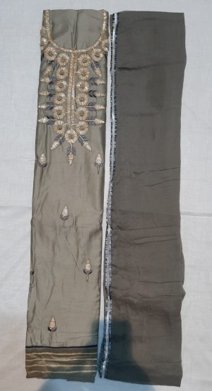 Priya Cotton Satin Dori Work Unstitched Dress- Showroom Quality