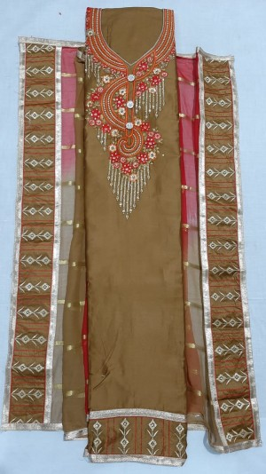 Jiya Satin Dress Materials With Dupatta Work- Showroom Quality