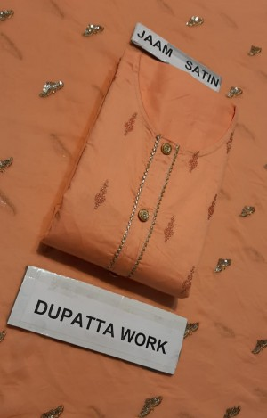 Noorjanha Jaam Satin Suit with Dupatta Work- Showroom Quality