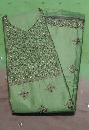 Lovely Sequance Dupatta Jaam Cotton Dress Materials- Showroom Quality