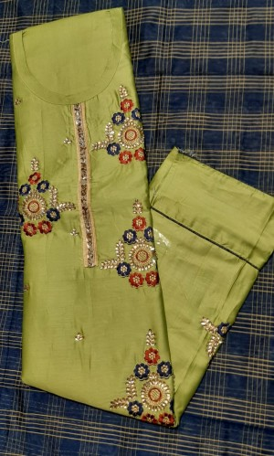 Jhanvi Cotton Jaam Satin Handwork Suit- Showroom Quality