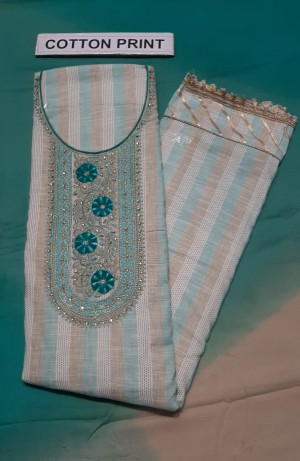 Cotton Khadi Neck Work Dress Materials- Showroom Quality