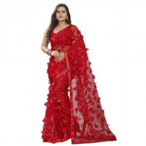 Fantastic Net Embroidered Satin Border Saree