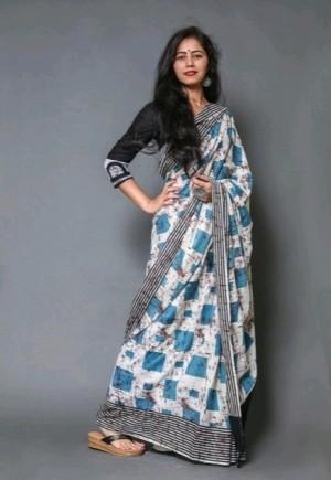 Glamorous Cotton Mulmul Jaipuri Print Sarees