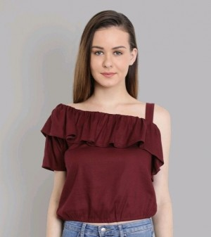 Product Name Women s Viscose Solid Crop Top Details Description It has 1 Piece of Women s Top Fabric Polyester Neckline One Side Off Shoulder Sleeves Sleeveless Pattern Solid Product Type Regular Color Maroon Occasion Casual Length 20 in Sizes Inches S 34