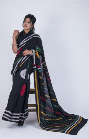 Exclusive Pure Hand block Batik printed cotton mulmul saree with Printed Blouse