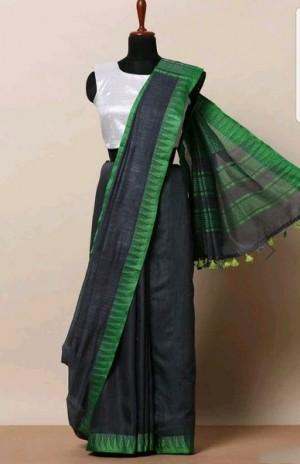 Beautiful Solid Khadi Silk Handloom Sarees With PomPom Border