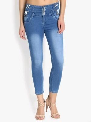 Women s Denim Five Button Solid Jeans