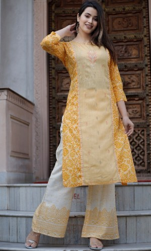 Full Embroidery Heavy Rayon Kurti Heavy Rayon Palazzo