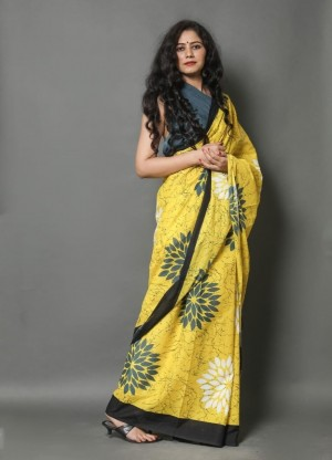 DZIRE LOOKS COTTON PRINTED SAREE WITH BLOUSE