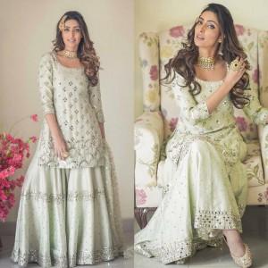 Kurta Palazzo set foil mirror work Punjabi suit Bridesmaids dress Indian wedding Salwar suit