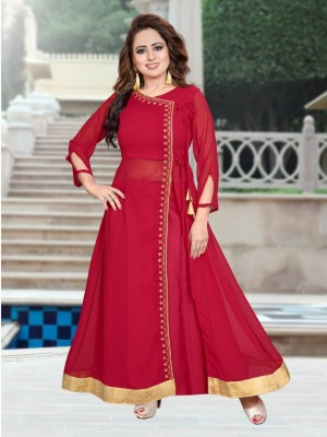 Women s Embroidered Georgette Kurta set with Palazzos