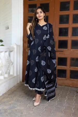 Women s Printed Cotton Kurta set with Pants