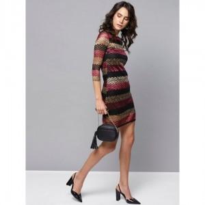 Women Black Golden Lace Sheath Dress