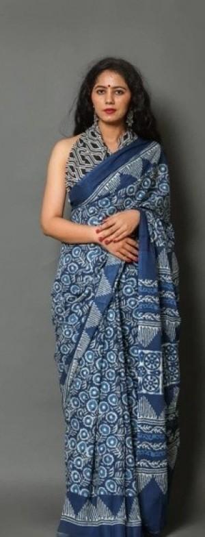 Authentic Jaipuri Printed Cotton Mulmul Handloom Saree With Printed Blouse Piece
