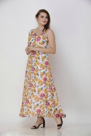 Printed White Maxi Georgette Dress