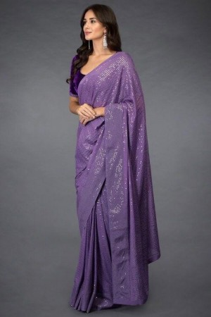 New Presenting Purple Color Georgette Sequence Saree With Velvet Blouse